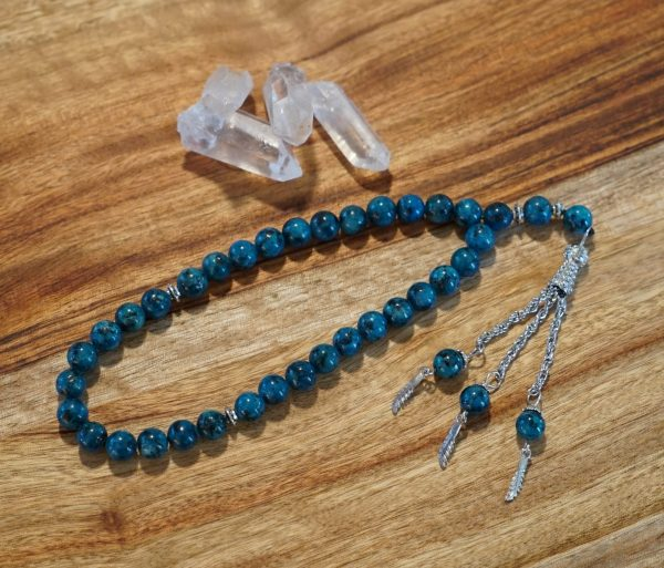 Blue Agate Mantra Beads